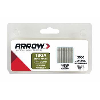 Arrow Brad Nails 20mm Brown (2000 Box) - BN1812B