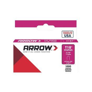"Arrow T18 Round Crown Staples 11mm 7/16"" (1000 Box) - 187"