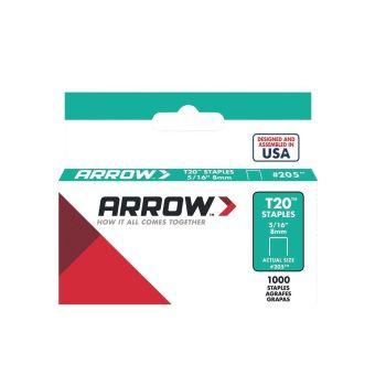 "Arrow T20 Staples 8mm 5/16"" (1000 Box) - 205"