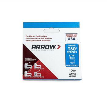 "Arrow T50 Monel Staples 8mm 5/16"" (1000 Box) - 505M1"