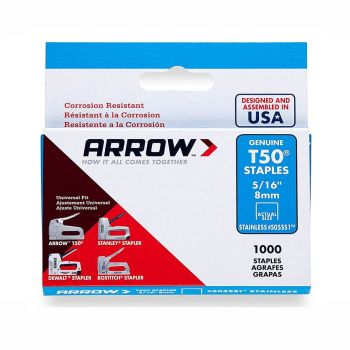 """Arrow T50 Stainless Staples 8mm 5/16"""" (1000 Box) - 505SS1"""