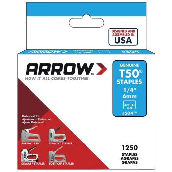 """Arrow T50 Stainless Staples 6mm 1/4"""" (1000 Box) - 504SS1"""
