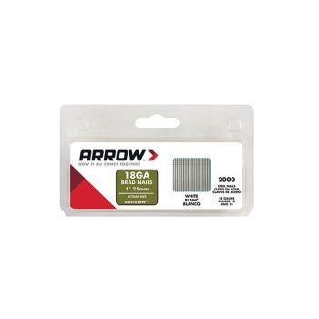 Arrow Brad Nails 25mm White (2000 Box) - BN1816W