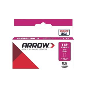 "Arrow T18 Round Crown Staples 10mm 3/8"" (1000 Box) - 186"