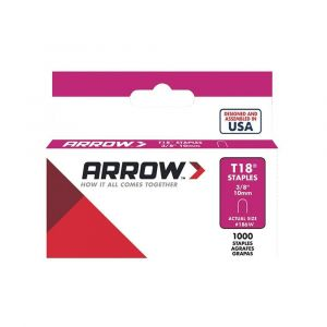 """Arrow T18 Round Crown White Painted Staples 10mm 3/8"""" (1000 Box) - 187W"""
