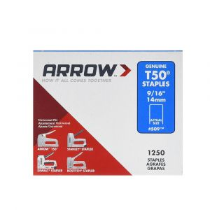 "Arrow T50 Monel Staples 14mm 9/16"" (1000 Box) - 509M1"