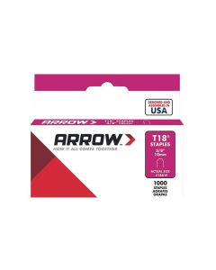 "Arrow T18 Round Crown White Painted  Staples 10mm 3/8"" (1000 Box)"