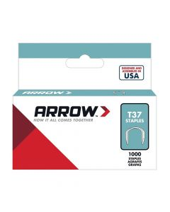 "Arrow T37 Round Crown Staples 12mm 1/2"" (1000 Box) - 378"