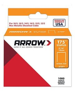 "Arrow T75 Staples 14mm 9/16"" (1000 Box) - 759"