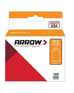 "Arrow T75 Staples 22mm 7/8"" (1000 Box) - 7514"
